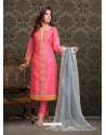 Fuchsia Embroidered Designer Churidar Salwar Suit