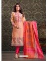 Light Orange Embroidered Designer Churidar Salwar Suit