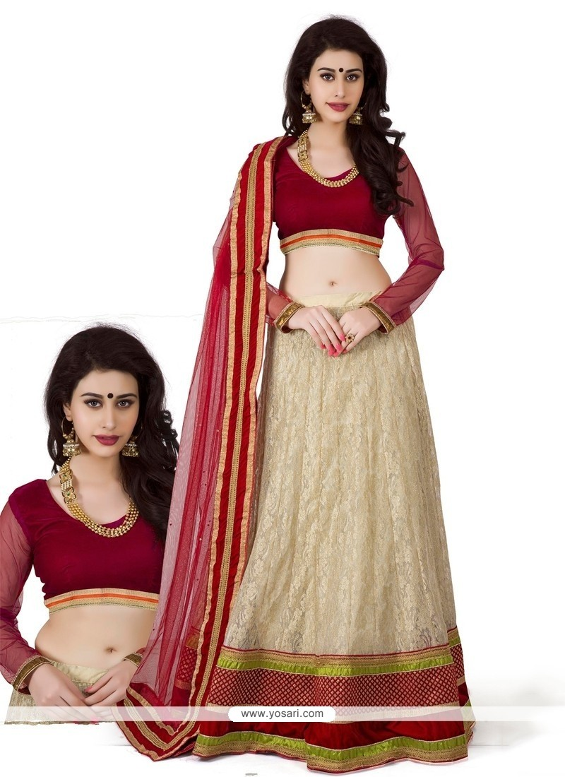 Cream And Red Net Lehenga Choli