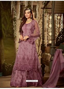 Lavender Heavy Embroidered Designer Sharara Suit