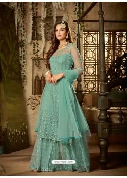 Sky Blue Heavy Embroidered Designer Sharara Suit