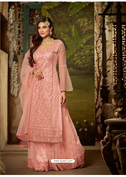 Baby Pink Heavy Embroidered Designer Sharara Suit