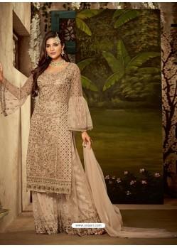 Light Beige Heavy Embroidered Designer Sharara Suit