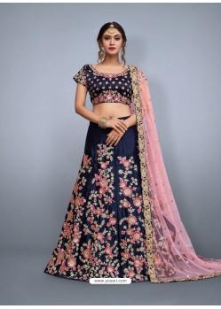 Navy Blue Heavy Embroidered Wedding Lehenga Choli