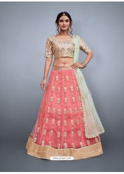 Peach Heavy Embroidered Wedding Lehenga Choli