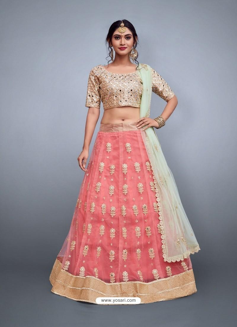 2e583822d6 Buy Peach Heavy Embroidered Wedding Lehenga Choli | Wedding Lehenga ...