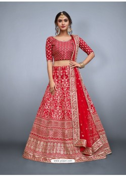Red Heavy Embroidered Wedding Lehenga Choli