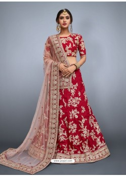 Crimson Heavy Embroidered Wedding Lehenga Choli