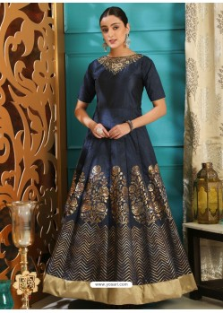Navy Blue Party Wear Gown for Girls