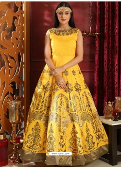 Yellow Party Wear Gown for Girls