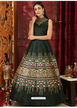 Dark Green Party Wear Gown for Girls