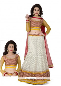 White And Yellow Resham Work Lehenga Choli