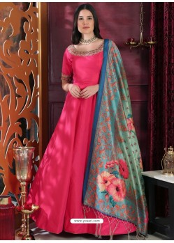 Fuchsia Party Wear Gown for Girls
