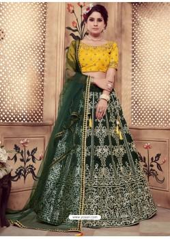 Dark Green Heavy Embroidered Wedding Lehenga Choli