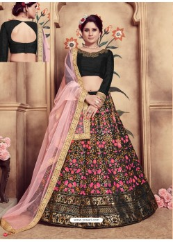 Black Heavy Embroidered Wedding Lehenga Choli