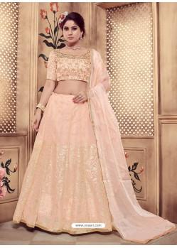 Light Beige Heavy Embroidered Wedding Lehenga Choli