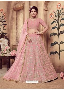 Pink Heavy Embroidered Wedding Lehenga Choli