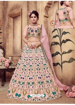 Baby Pink Heavy Embroidered Wedding Lehenga Choli
