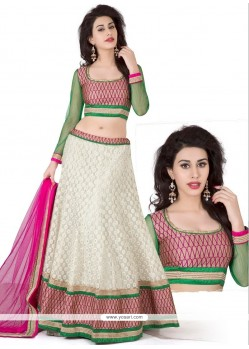 White And Pink Jacquard Silk Lehenga Choli