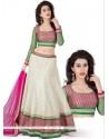 White And Pink Jacquard Silk Lehenga Choli