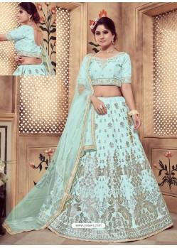 Sky Blue Heavy Embroidered Wedding Lehenga Choli