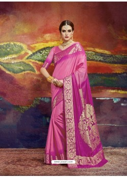 Hot Pink Designer Silk Party Wear Sari