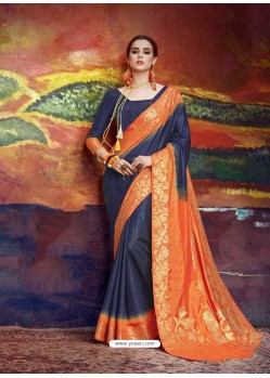 Navy Blue Designer Silk Party Wear Sari