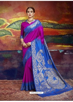 Magenta Designer Silk Party Wear Sari