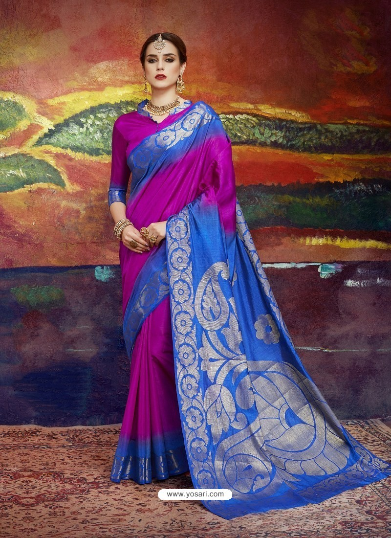 Magenta Designer Silk Party Wear Sari