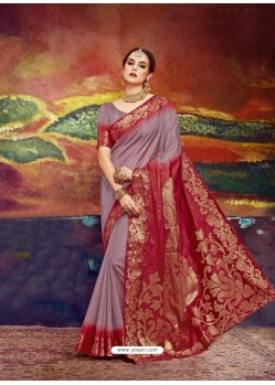 Light Brown Designer Silk Party Wear Sari