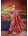Light Brown Designer Silk Party Wear Sari