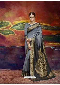 Grey Designer Silk Party Wear Sari