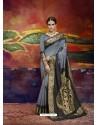 Grey Designer Silk Party Wear Sari