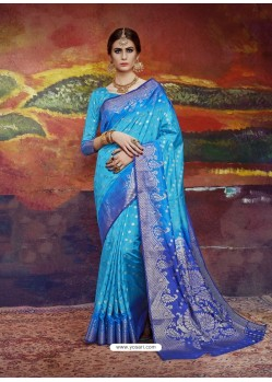 Turquoise Designer Silk Party Wear Sari