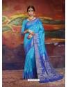 Turquoise Designer Silk Party Wear Sari