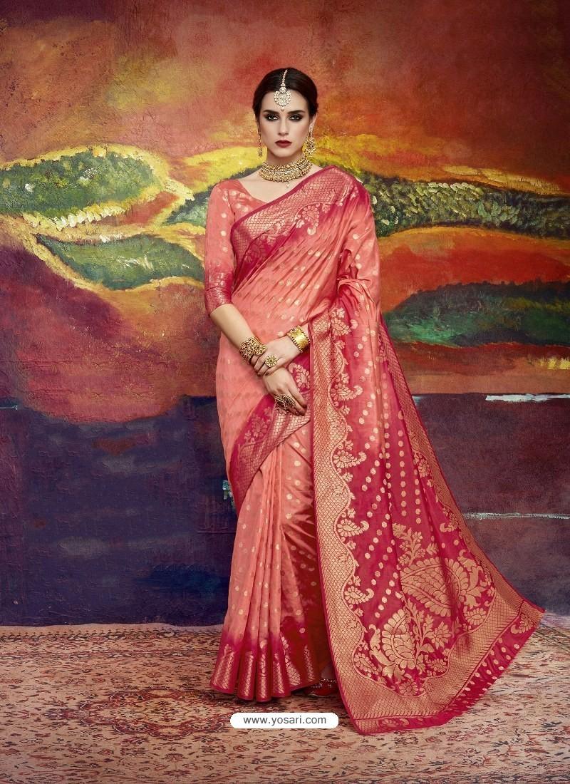 Peach Designer Silk Party Wear Sari