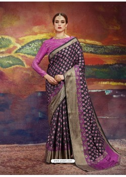 Black Designer Silk Party Wear Sari