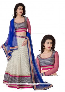 Stellar White And Blue Resham Work Lehenga Choli