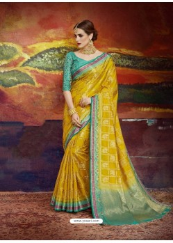 Corn Designer Silk Party Wear Sari
