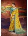 Corn Designer Silk Party Wear Sari