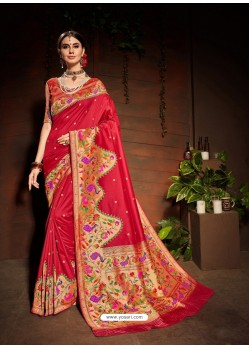 Red Designer Paithani Silk Sari