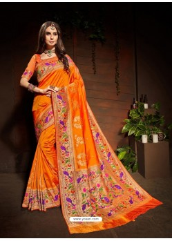 Orange Designer Paithani Silk Sari