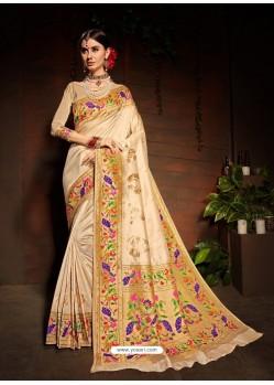 Light Beige Designer Paithani Silk Sari