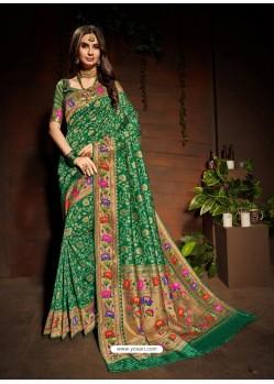 Forest Green Designer Paithani Silk Sari