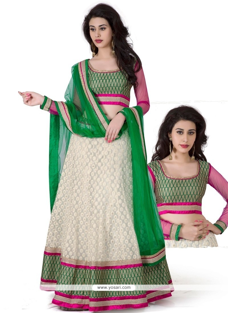 Flashy White And Green Jacquard Silk Lehenga Choli