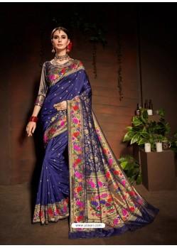 Navy Blue Designer Paithani Silk Sari
