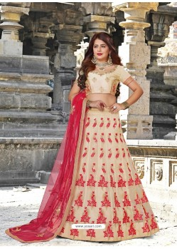 Elegant Light Beige Designer Party Wear Lehenga