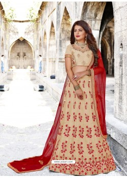 Light Beige Designer Party Wear Lehenga