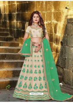 Sizzling Light Beige Designer Party Wear Lehenga