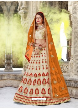 Stunning Light Beige Designer Party Wear Lehenga